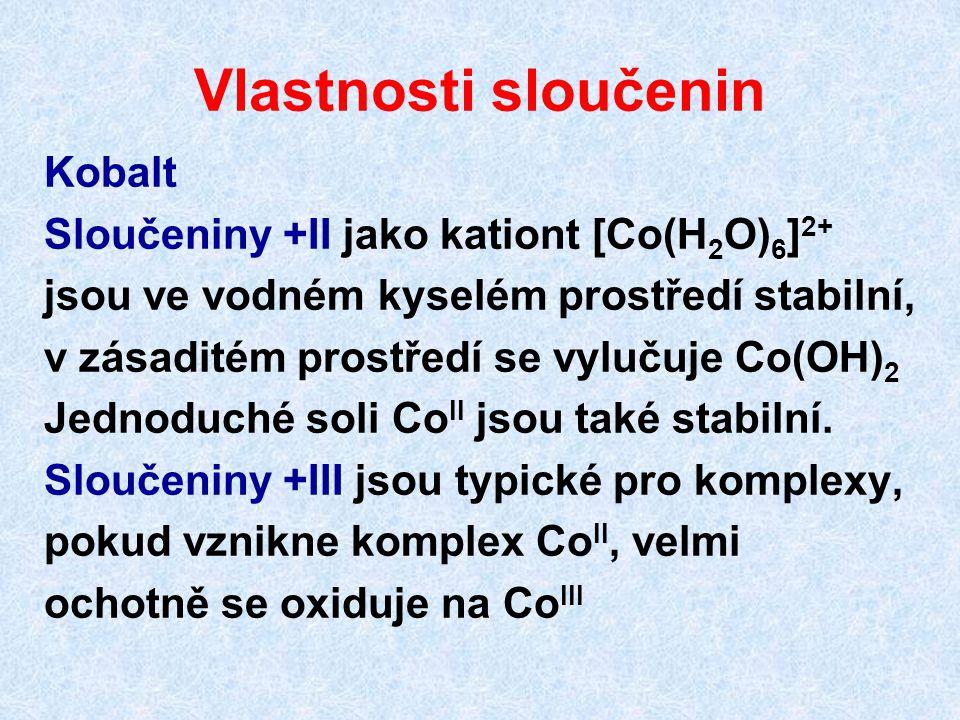 Vlastnosti sloučenin Kobalt Sloučeniny +II jako kationt [Co(H2O)6]2+
